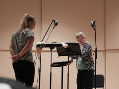 "Ann Donner recording ""Italian Dance Suite"" for unaccompanied flute."