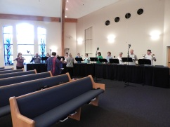 "Recording ""Wondrous Love"" for Handbells with Flute (photo by Abigail Lynn)"