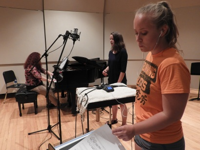 "Kira, Pam, and Haley: intense concentration while recording ""Three Days"" (Photo by Clayton Marcum)"