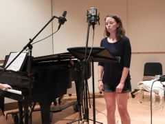 "Kira Lace Hawkins recording ""Three Days."" (Photo by Clayton Marcum)"