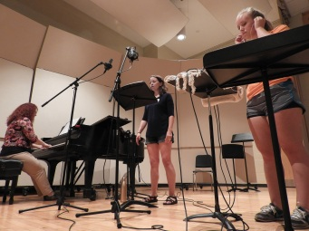 "Kira and Pam recording ""Three Days."" (Photo by Clayton Marcum)"