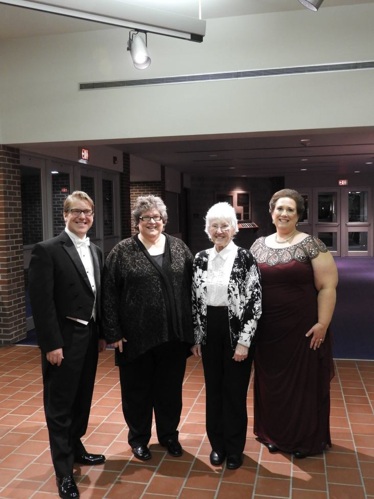"""Daniel, Judy, and I with Judy's mother. Her father was the youngest letter author whose words became lyrics for """"A Family Portrait"""""""